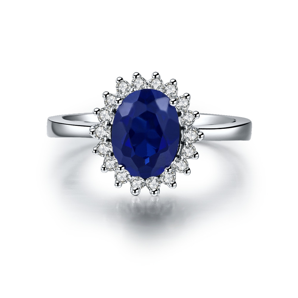 1.5 Carat Pure Gold 14K Oval Shape Blue Undertaken Simulate Diamond Women Anniversary Ring Top Brand Style Excellent Design Ring(China (Mainland))