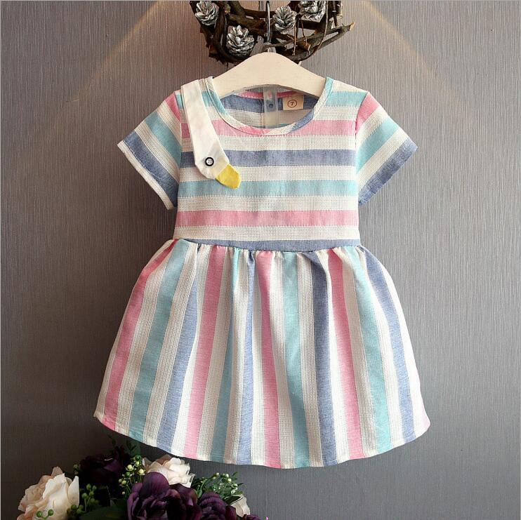 Girls' Summer Dresses 2016 Striped Princess Dress Party Children Clothes Collect Waist Dresses Of Girls(China (Mainland))