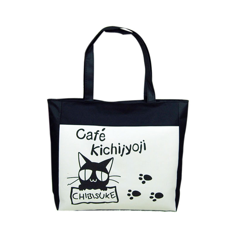 Fashion Women Bags Canvas Handbag Casual Big Tote Bag Black Kitten Pattern Girls Shopping Shoulder Bags Handbag Beach Hot Sale(China (Mainland))