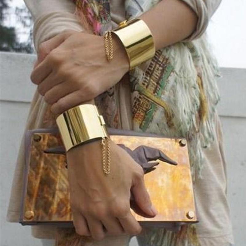 Fashion gold silver plated cuff bracelet Jewelry exaggerated punk collar type bracelet Bangle Statement bracelets for women(China (Mainland))