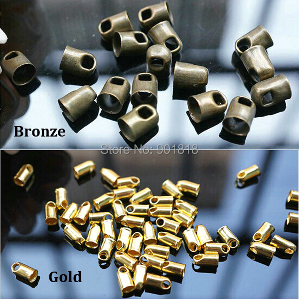100pcs /lot Hole 3.5mm Bronze Gold Color Metal Cord End Caps For Leather Cords String For Jewelry DIY Fittings Connectors F1760<br><br>Aliexpress