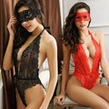 2016 New Lace Sexy Lingerie Hot Transparent Sexy Costumes Baybydoll With Goggles Deep V Erotic Sleepwear