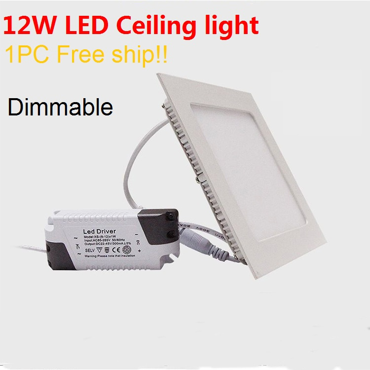 1PC Free ship 12W Dimmable Square led panel LED Ceiling light SMD2835 down lighting AC85~265V(China (Mainland))