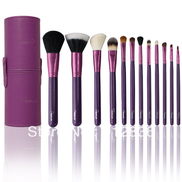 Free Shipping New 12Pcs Sixplus Makeup Brush Kit Pro Cosmetic Set in Round Purple Leather Case