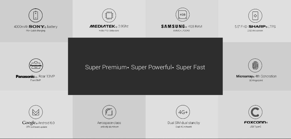 In Stock Original Umi Super 4G LTE Mobile Phone MTK6755 Octa Core 5.5″ FHD 13.0MP Android 6.0 4GB RAM 32GB ROM Fingerprint DHL