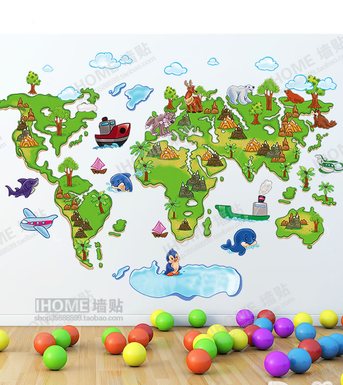 World map animal cute DIY Wall Stickers decals for kids room Home decor 3D removable Wall Stickers 60*90cm