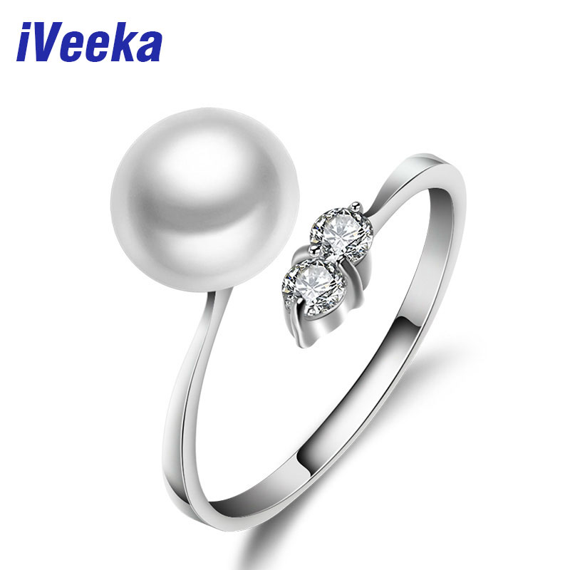 iVeeka jewelry 100% natural pearls 925 sterling silver engagement rings for women freshwater pearl jewelry wedding ring(China (Mainland))