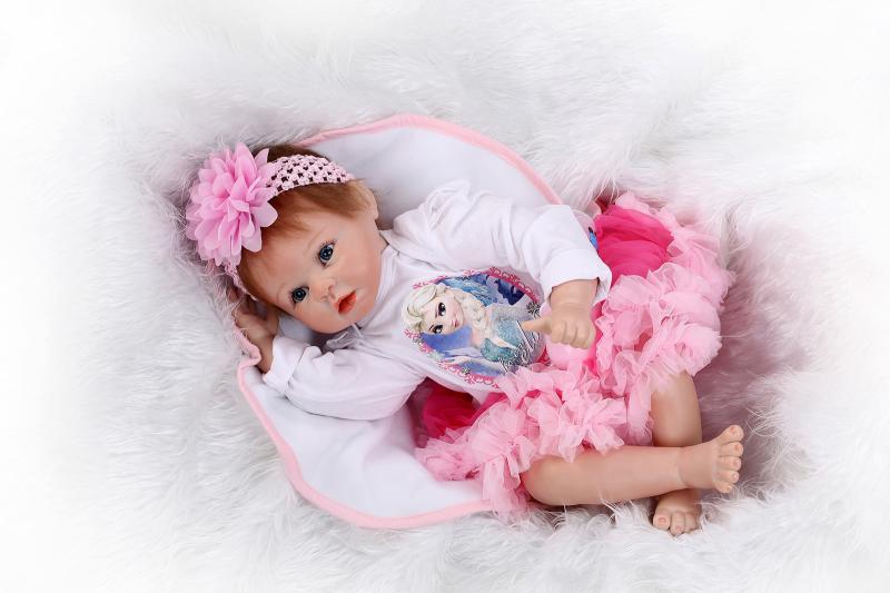 55CM lifelike silicone reborn dolls for baby toys  baby alive boneca reborn menina children toys