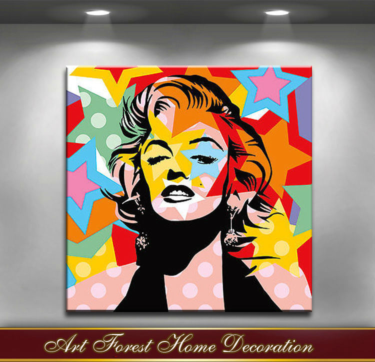 Free shipping highest quality monroe pop art oil painting for Pop wall art