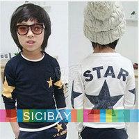 Boys Long Sleeve Tshirts Kids Five-star Printed Cool Tops,O-neck,Children Bottoming Shirts,Free Shipping  K0742