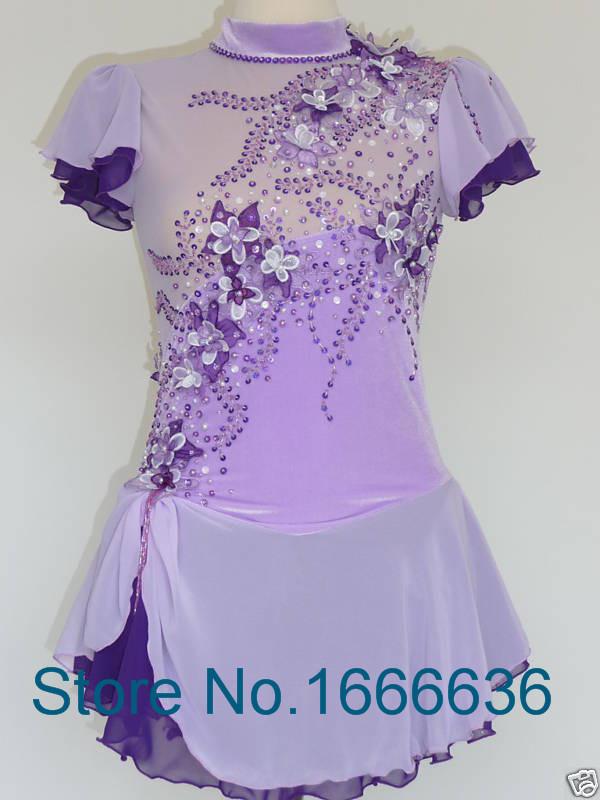 Purple Figure Skating Dress With Short Sleeve New Brand Ice Skating Dress For Children  DR3145Îäåæäà è àêñåññóàðû<br><br>