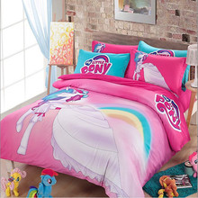 Free shipping via UPS twin/full/queen size children cartoon my little pony bedding set without the filler home textile(China (Mainland))