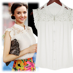 2014 women summer new European and American temperament Butterfly sleeve lace plus size chiffon shirt bottoming blouse(China (Mainland))