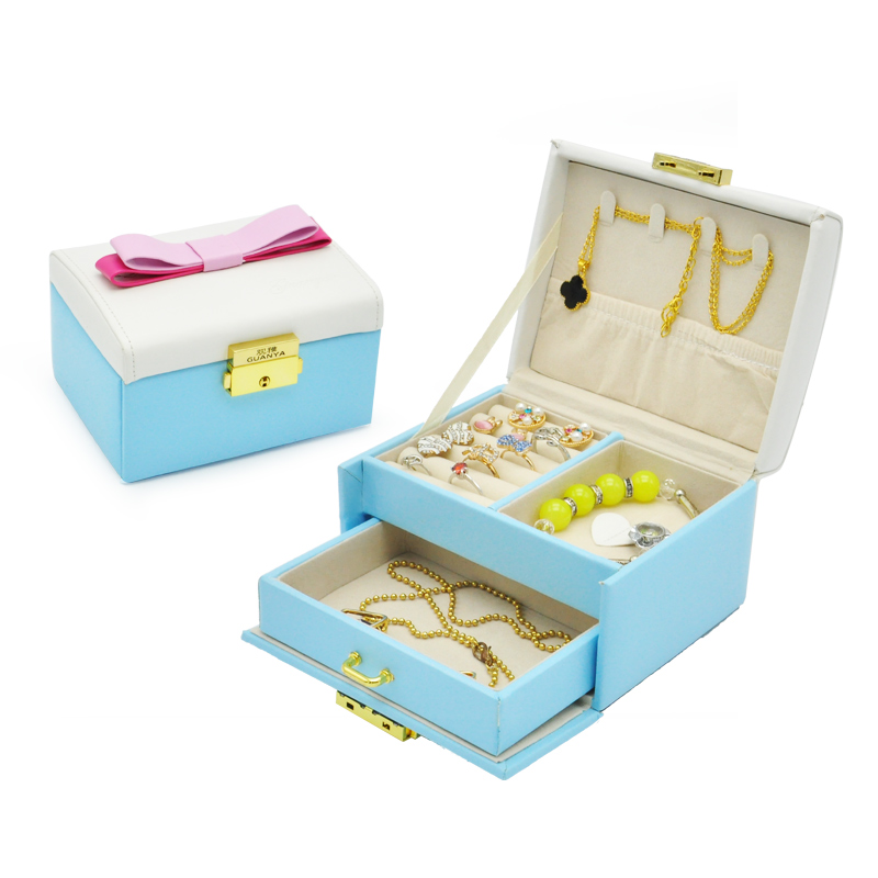 New fashion gift leather jewelry box necklace rings earrings with bowknot jewelry automatic holders jewelry box(China (Mainland))