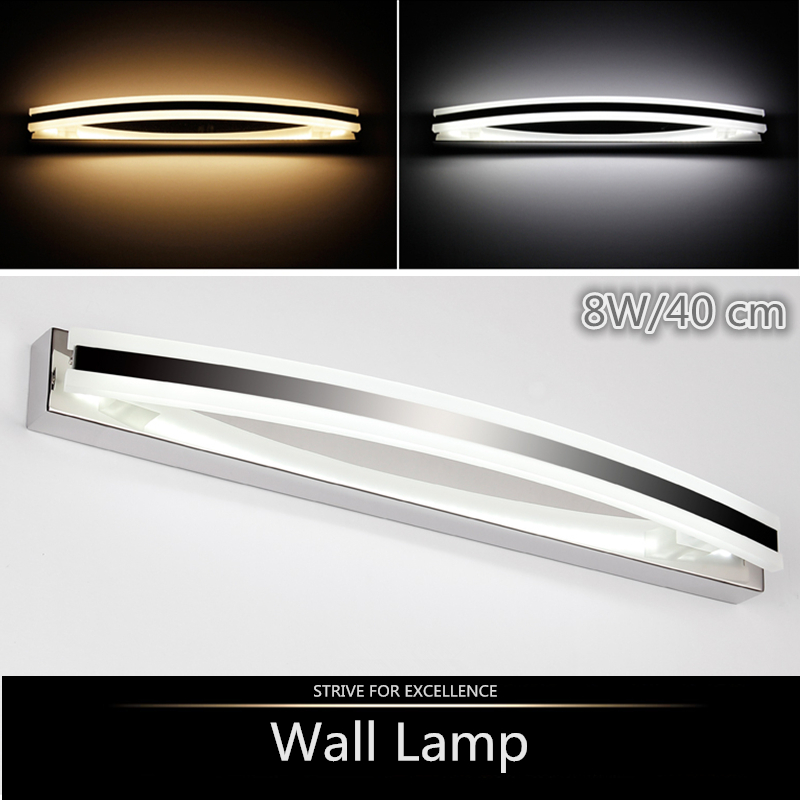 2016 new Stylish elegant Modern 8W 40CM stainless steel LED wall lamps bedroom bedside Mirror bathroom lights Home Decoration(China (Mainland))