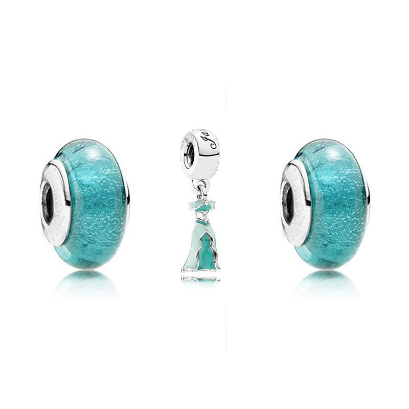 Disny Jasmine Dress Charms Fits Pandora Bracelet Jasmine Glass Beads DIY Women European Bead Glass 925 Sterling Silver Jewlery<br><br>Aliexpress