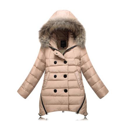 Детская одежда пуховик - онг ребенка зимой верхняя одежда девушки загущающие открытый свободного покроя спортивный пуховик парки 120 - 150