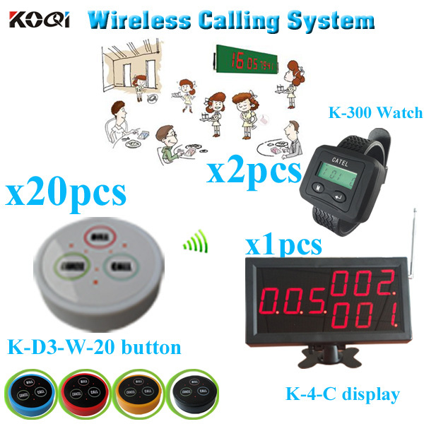 Restaurant Number calling system with monitor bell button watch pager (1 display receiver+ 2 watch +20 table bell button)(China (Mainland))
