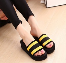The new summer 2016 han edition platform wedges sandals fashion word slippers cool female antiskid beach slippers wholesale