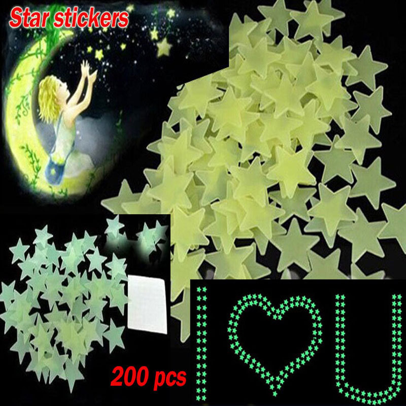 noctilucent stars Home Wall Glow In The Dark Star Stickers Decal Baby Kids Gift Nursery Room 200 pcs(China (Mainland))