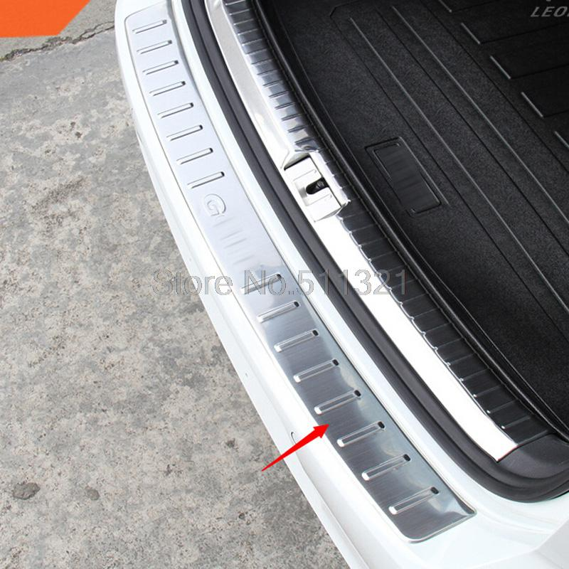 For 2013 2014 Volkswagen VW Golf 7 Golf7 MK7 Outer Rear Bumper Protector Sill Tread Plate Threshold pad Cover trim(China (Mainland))