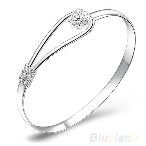 Новая Мода ювелирные изделия Серебро Простой Круг Цветок Розы Манжеты Браслет 12OH