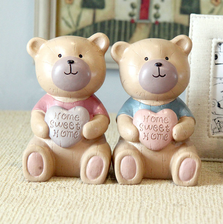 Piggy piggy children love Teddy Bears resin piggy bank cute birthday wedding gift ideas(China (Mainland))