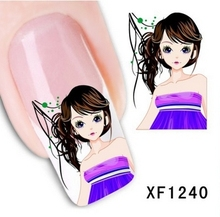 Artificial flowers, watermark nail stickers series XF1240