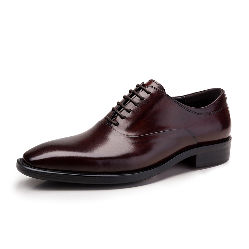 Stone Grained Coffee/Black Mens Oxford Wedding Genuine Leather Mens Business Lace-Up Pointed Toe Mens Dress Flats Shoes(China (Mainland))