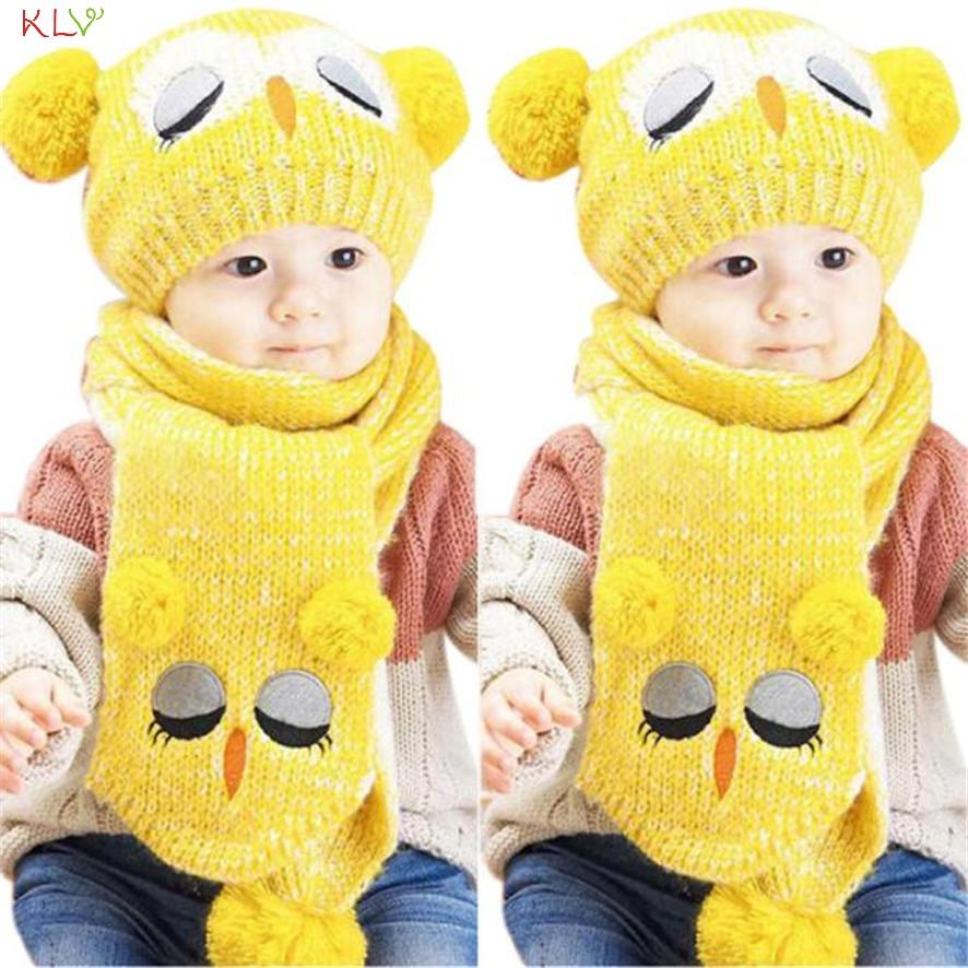 Hot Brand Winter Baby Knit Crochet Toddler Kids Warm Balls Hat Beanie Cap + Scarf