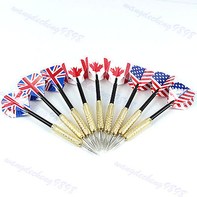 "B86""9PCS Tip Copper Darts Needle National Flag Flights Play Dart Steel Throwing Toy(China (Mainland))"