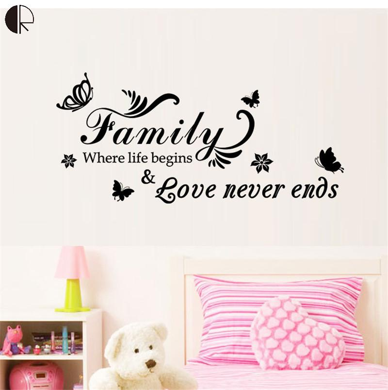 New Quote Removable Vinyl Decal Wall Sticker Love Never Ends Home Decor DIY Wallpaper Butterfly Decals Miroir Mural HH1335(China (Mainland))