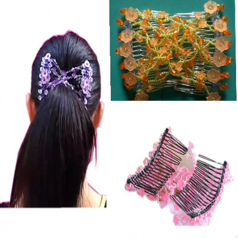 Amazing Magic Hair Style Headdress Hairpin Comb Crystak Beaded Flower Magic Comb Elastic Double EZ Clips Clips Hair Accessories(China (Mainland))