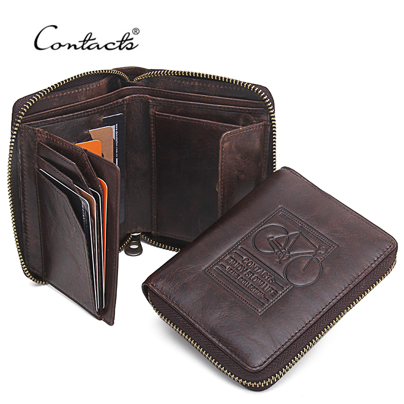 CONTACT'S Men Wallets Genuine Leather Brand Design Zipper Purses Bicycle Print Designer Mens Purses Money Bag Coin Pocket