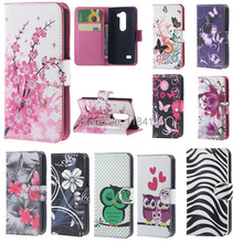 Wallet Style Fashion Flower Vertical Flip Leather Case with Card Slots and Stand for LG Leon/C40/C50/H340N/4.5 inch/LG Risio(China (Mainland))