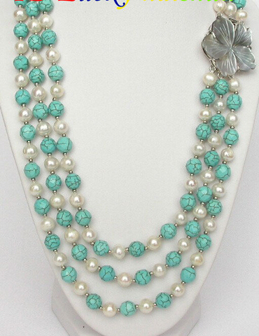 """Hot sale Free Shipping>>>>>Genuine 3row 8mm white pearl faceted turquoise necklace 18""""(China (Mainland))"""