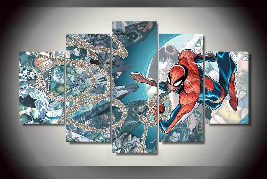 5 Unids Con Enmarcado Impreso Comics spider man Pintura sobre lienzo de impresión decoración impresiones imagen lona Listo para colgar quadro decorativo(China (Mainland))
