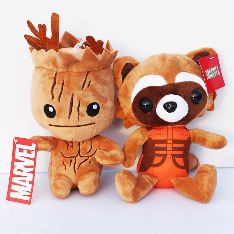 EMS 100PCS/LOT 820cm Guardians Of The Galaxy Tree People Groot &amp; Rocket Raccoon Stuffed Animal Plush Toy Dolls With Tag<br><br>Aliexpress