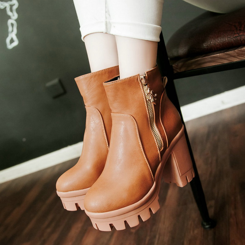 2015 Sexy square High Heels Platform Shoes Autumn Winter Boots Martin Boots Shoes yellow Woman Fashion Zipper Ankle Boots <br><br>Aliexpress