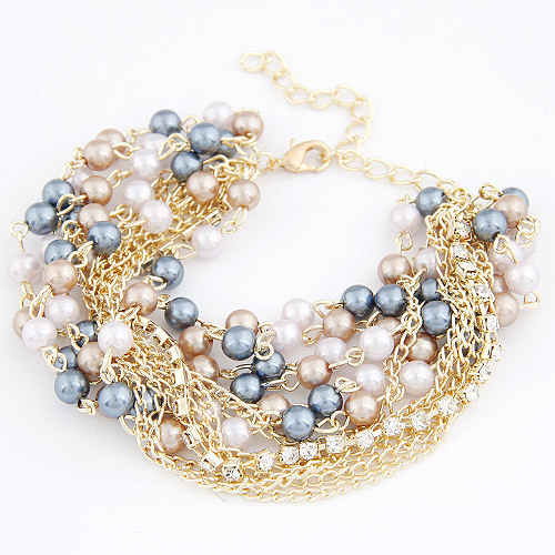 New Brand Design Women Bangles Fashion 18K Gold Charms Crystal Pearl Beads Chain Bracelet Fine Jewelry Vintage Accessories D067(China (Mainland))
