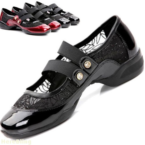 New Women's Mesh Dance Shoes Capezio Lites Latin Jazz Dance Sneakers Ballroom Shoes Black & Wine Buckles(China (Mainland))