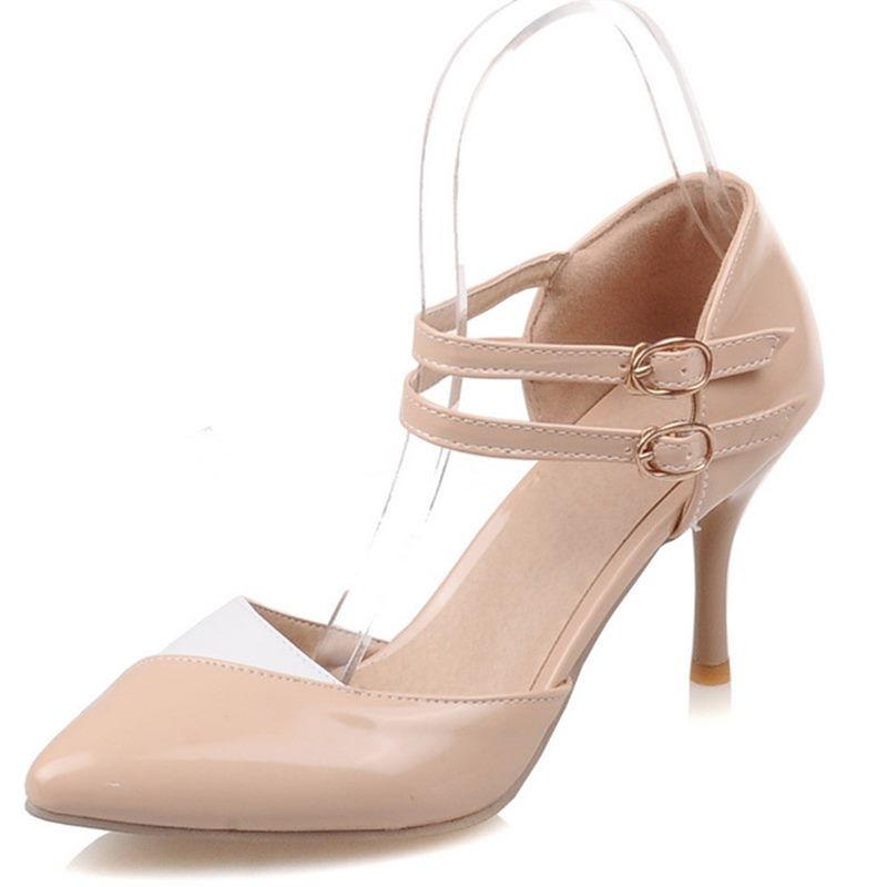 Spring Summer Mary Janes Women Shoes High Heel Platform Heels Pointed Toe Ladies Buckle Strap Party Pumps size 34-43