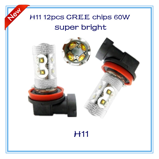 Free shipping 2pcs/lot new products H11 60W 12pcs cree super bright white yellow red blue high quality products led fog lamp DRL(China (Mainland))