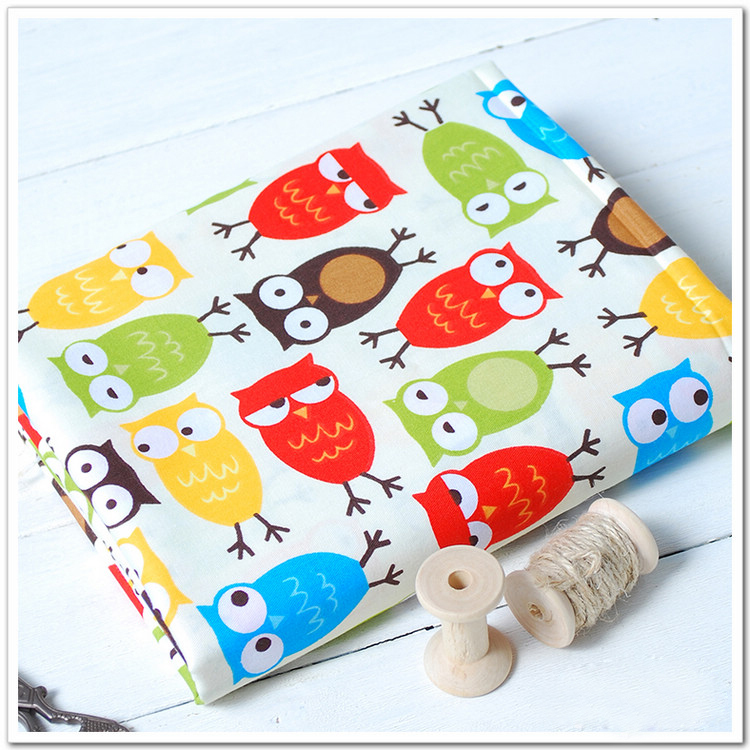 Cute colorful owl printed 100 cotton fabric for baby for Upholstery fabric for baby nursery