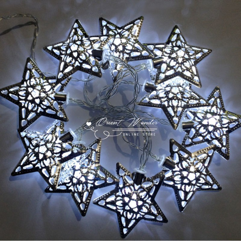 Moroccan LED String Light Outdoor Garden Party Christmas Decoration Fairy lamp ball /star /heart shape for selection(China (Mainland))