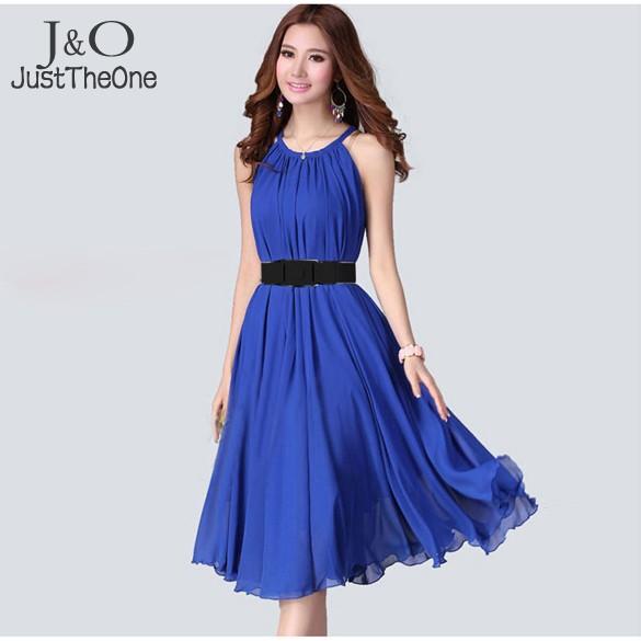 best selling long maxi dress women summer chiffon sleeveless lady elegant casual dress with belt 29(China (Mainland))
