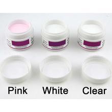 Hot 3 X ACRYLIC POWDER For NAILS ARTS False Tips Tools Set - WHITE CLEAR PINK Crystal Nail Polymer DIY Manicure Builder(China (Mainland))