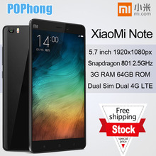 F Original Xiaomi Mi Note Black 4G FDD LTE android phone 5.7 inch Snapdragan801 Quad Core 2.5Ghz 13.0MP 3GB RAM 64GB ROM