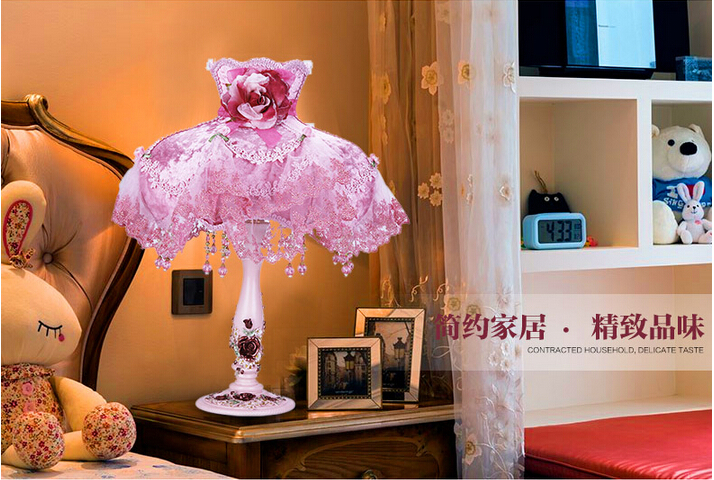 New romantic Table Lamp Decorative Resin Base Table Lighting With Fabric Shade For Bedroom Reading Lights<br><br>Aliexpress