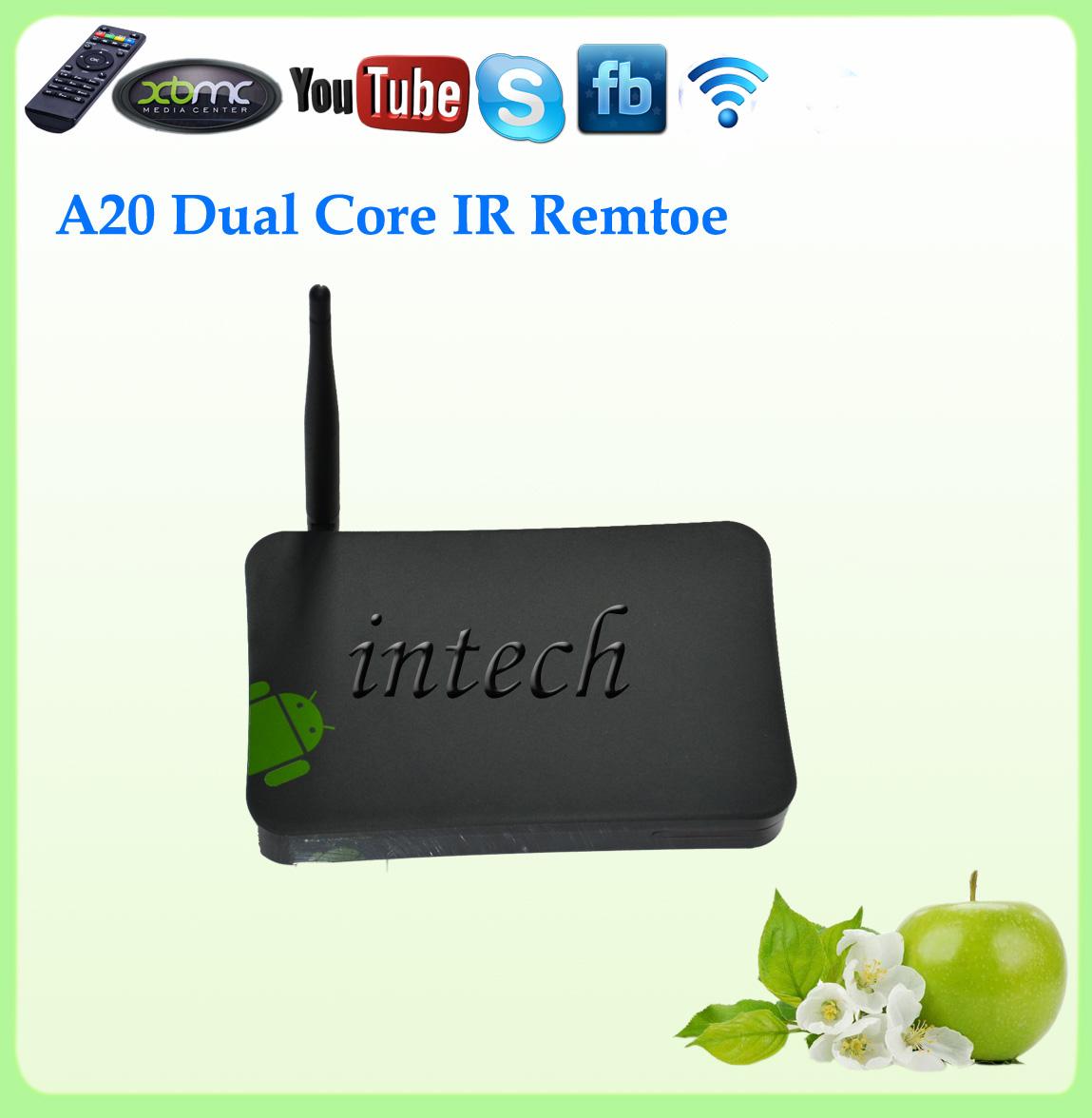 Cheapest Dual Core Allwinner A20 RJ45 XBMC Dongle Free TV A20 Dual ARM Cortex 1G+4G Android Internet Media Player HDMI(China (Mainland))